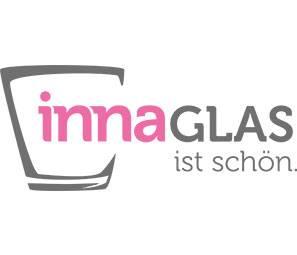 "Lantern glass / tealight glass EMINE with handle, green flocked, 6.9""/17,5cm, Ø7.1""/18cm"